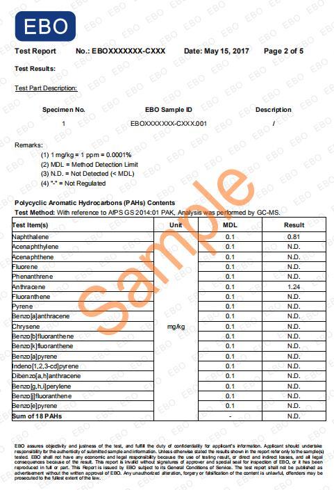 PAHs测试报告样本