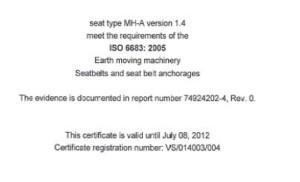 工程机械座椅证书